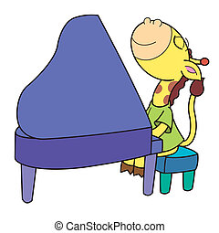 piano, girafa, caricatura, tocando
