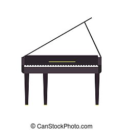 Piano grand vector music illustration instrument black musical isolated classical white icon. Key concert background sound