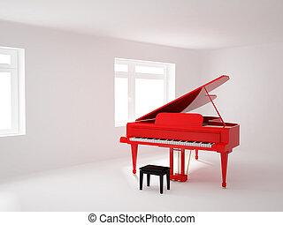 piano, habitación, magnífico