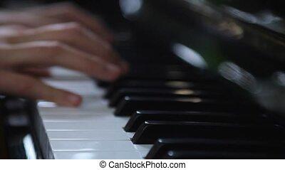 piano, handen, spelend