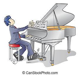 piano, homem
