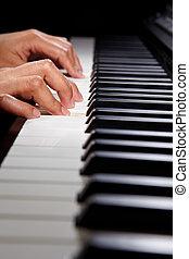 piano, hybride, jouer, numérique