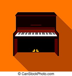 Piano icon in flat style isolated on white background.