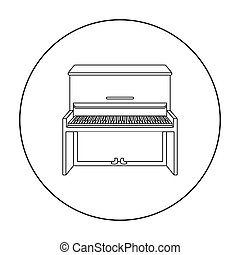 Piano icon in outline style isolated on white background. Musical instruments symbol stock vector illustration