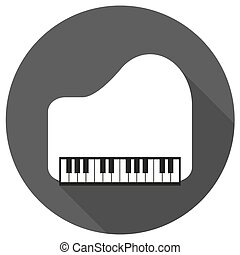 Piano Icon on white circle with a long shadow