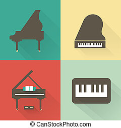 Piano icons - Vector piano icons