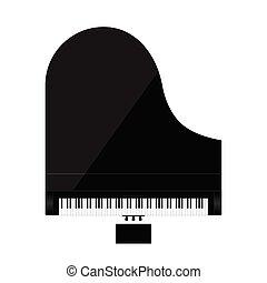 piano illustration in black color