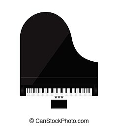 piano illustration in black color