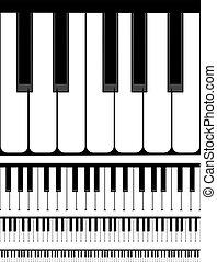piano, ilustração, teclado