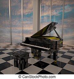 Piano in elegant room with big windows