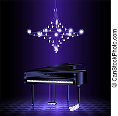 piano in the dark room - in dark room with crystal luster is...