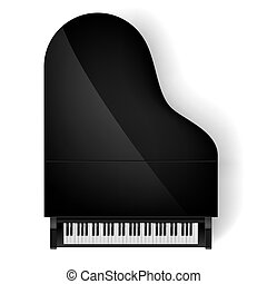 Piano in top view - Top view of black grand piano on white...