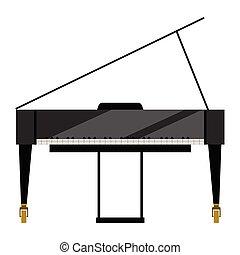 piano, isolado, imagem, grandioso