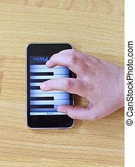 piano jogo, ligado, modernos, tela toque, telefone