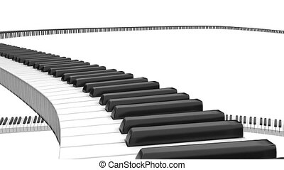 Piano Keaboard Infinity Path - Piano black and white keys in...