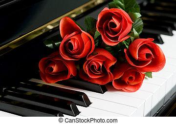 Piano Key and rose