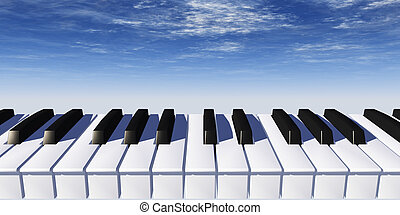 piano keyboard and blue sky - 3d illustration