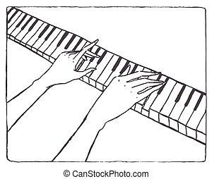 Piano keyboard and pianist hands