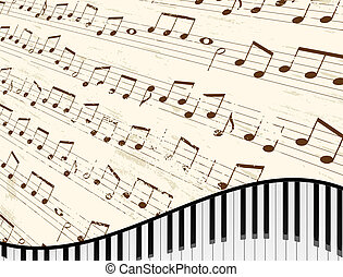 Piano Keyboard Background - Piano keyboard against faded...