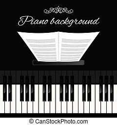 Piano keyboard background - Music concert grand piano...