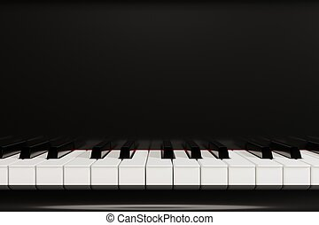 Piano keyboard close up view 3D illustration