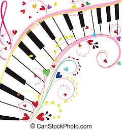 Piano keyboard on a white background with notes and hearts...
