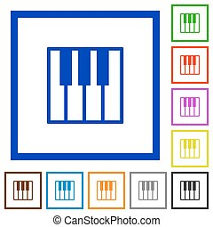 Piano keyboard framed flat icons
