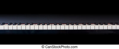 Piano keyboard banner, front view, copy space