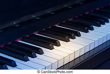 Piano keyboard - Macro of piano keyboard made of ivory with...