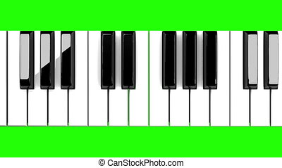 Piano keyboard on green chroma key. Loop able 3DCG render ...