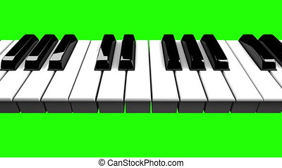 Piano keyboard on green chroma key. Loop able 3DCG render...