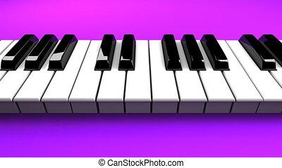 Piano keyboard on purple background. Loop able 3DCG render...