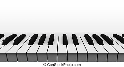 piano keyboard on white background - 3d illustration