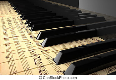 Piano keyboard painted with a pentagram.