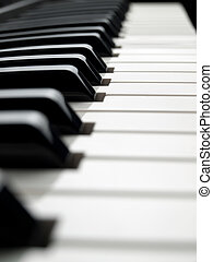 piano keyboard , image taken from low angle, shallow DOF