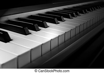 Piano keyboard - Piano MIDI interface keyboard - closeup...