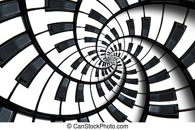 Piano keyboard printed music abstract fractal spiral pattern...