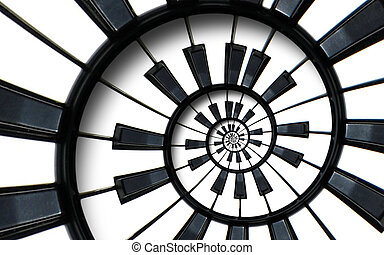 Piano keyboard printed music abstract fractal spiral pattern background. Black and white piano round spiral. Spiral Piano helical pattern abstract background Abstract piano spiral effect..