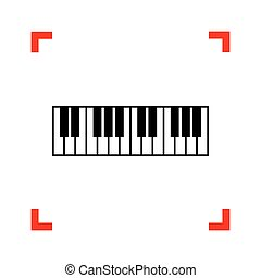 Piano Keyboard sign. Black icon in focus corners on white...