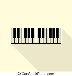 Piano Keyboard sign. Black icon with flat style shadow path...