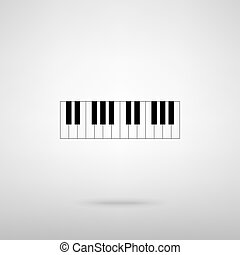 Piano Keyboard  sign. Black with shadow on gray.
