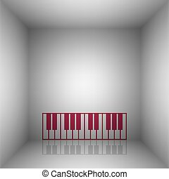 Piano Keyboard sign. Bordo icon with shadow in the room.