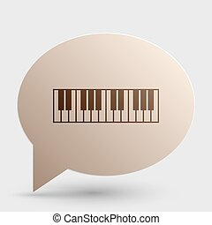 Piano Keyboard sign. Brown gradient icon on bubble with shadow.