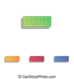Piano Keyboard sign. Colorfull applique icons set.