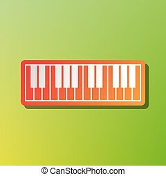 Piano Keyboard sign. Contrast icon with reddish stroke on green backgound.