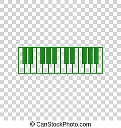 Piano Keyboard sign. Dark green icon on transparent...
