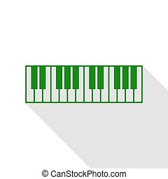 Piano Keyboard sign. Green icon with flat style shadow path.