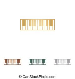 Piano Keyboard sign. Metal icons on white backgound.