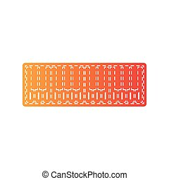 Piano Keyboard sign. Orange applique isolated.