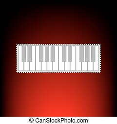 Piano Keyboard sign. Postage stamp or old photo style on...